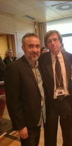 Maximiano Vázquez, representante de ANSEDH, con Pablo Lapunzina, director Científico del Ciberer ydirector de Genética del Hospital Universitario de la Paz.