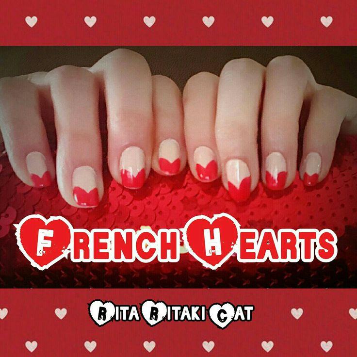 French Hearts nail art