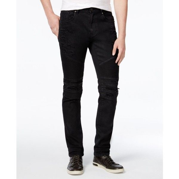 Reason Men's Slim-Fit Leroy Waxed Denim Black Moto Jeans (4,045 DOP) ❤ liked on Polyvore featuring men's fashion, men's clothing, men's jeans, black, mens slim cut jeans, mens jeans, mens slim jeans, mens slim fit jeans and mens denim jeans