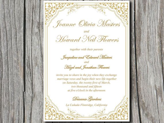 "Vintage Vines ""Lavanderia"" Wedding Invite Microsoft Word Template   Golden Sands Metallic   Downloadable Wedding Invitation   Modern Wedding by PaintTheDayDesigns, $7.75"