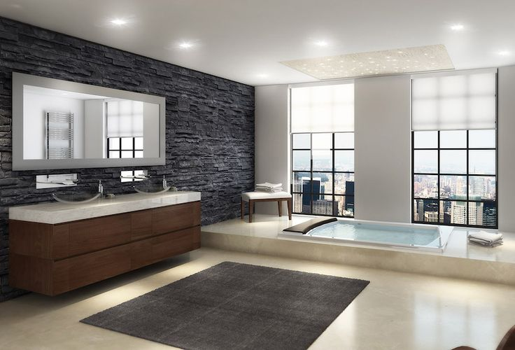 Luxury master bathroom with beige marble floor plan and gray square rug. 50 Magnificent Luxury Master Bathroom Ideas ➤To see more Luxury Bathroom ideas visit us at www.luxurybathrooms.eu #luxurybathrooms #homedecorideas #bathroomideas @BathroomsLuxury