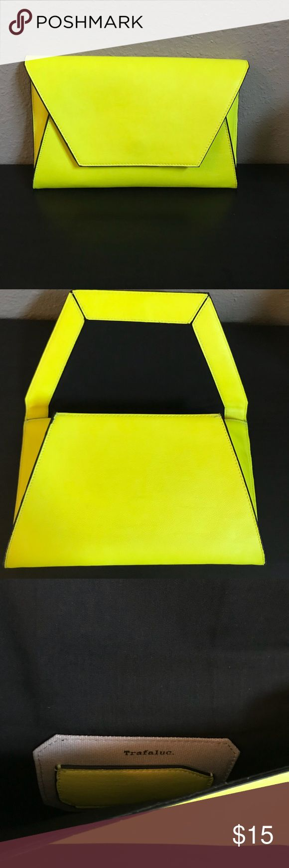Neon Yellow Envelope Clutch Looking to add a POP of color to your wardrobe? Look no further. This cute envelope inspired Clutch is perfect addition to any closet. Gently used. No stains or tears. 100% polyurethane Zara Bags Clutches & Wristlets