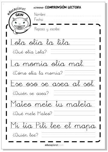 Imprime fichas gratis de comprensión lectora para niños y niñas de 5 y 6 años: Letras L, M, S, T P. Complemento de la app Leo con Grin.