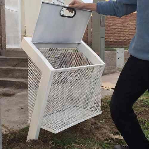 Cesto Canasto Hierro Para Basura Residuos Exterior Diseño