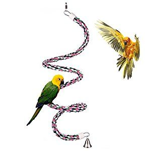 Aigou Bird Spiral Rope Perch, 65-Inch Cotton Parrot Swing Climbing Standing Toys with Bell