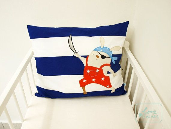 Pirate Cushion Pirate Pillow Nautical by LoveColorsByJulianna