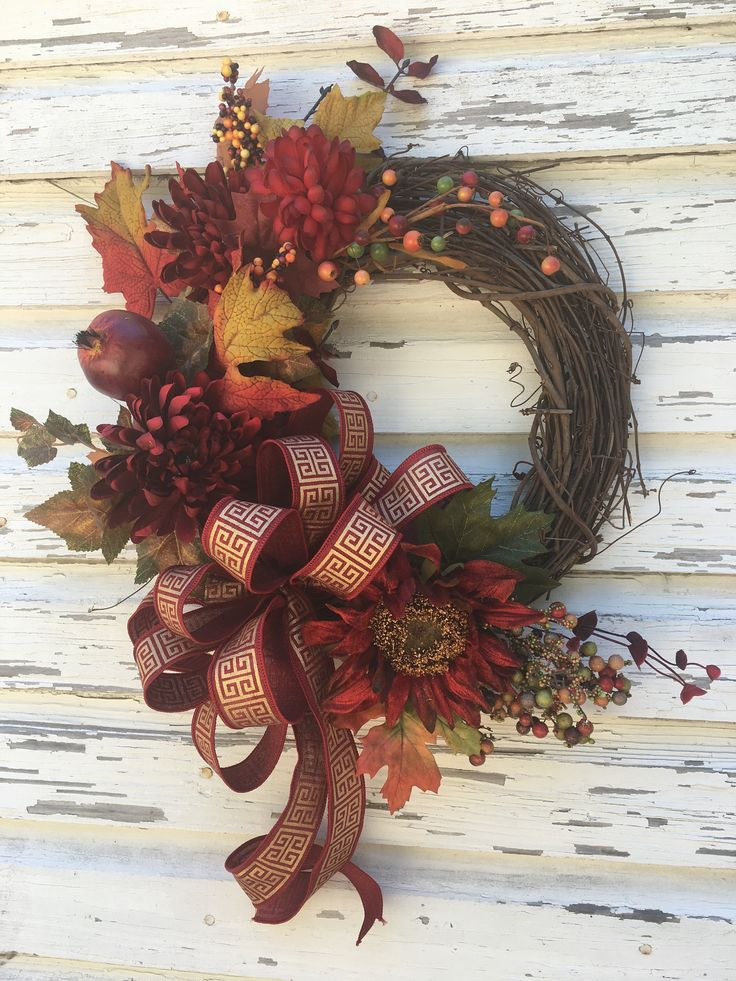 Grapevine Fall Autumn Wreath, Fall Door Decor, Grapevine Fall Decorations, Red Sunflower Decor, Burgundy and Gold, by DivineDesignWreaths on Etsy