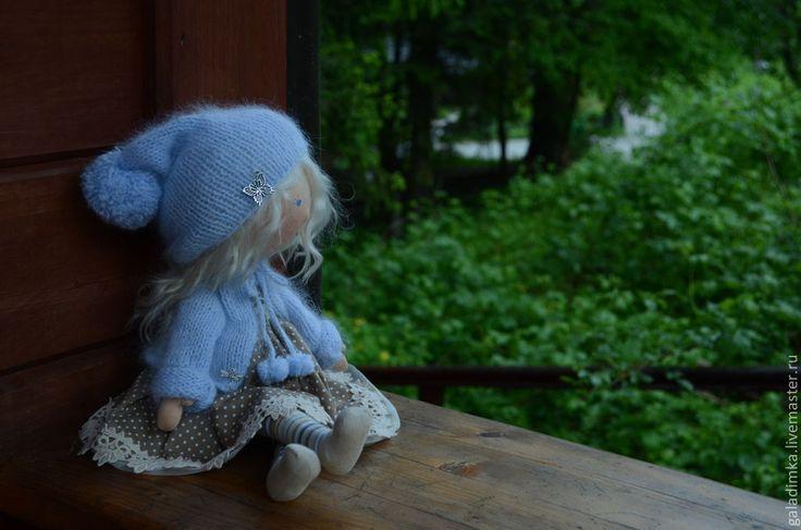 Купить Гномочка - голубой, подарок, текстильная кукла, текстильная игрушка, интерьерная кукла