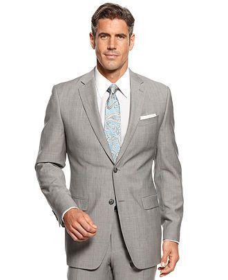 Donald J. Trump Suit, Light Grey Sharkskin - Suits & Suit Separates - Men - Macy's