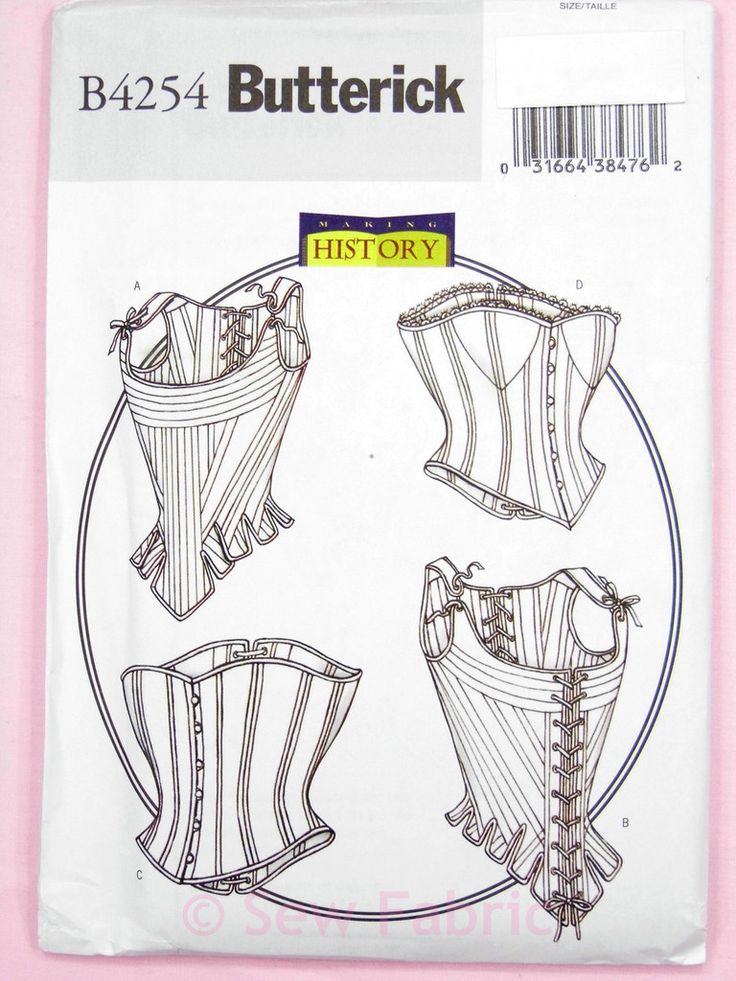 Butterick 4254 Sewing Pattern Misses' Period Historical Boned Stays & Corset