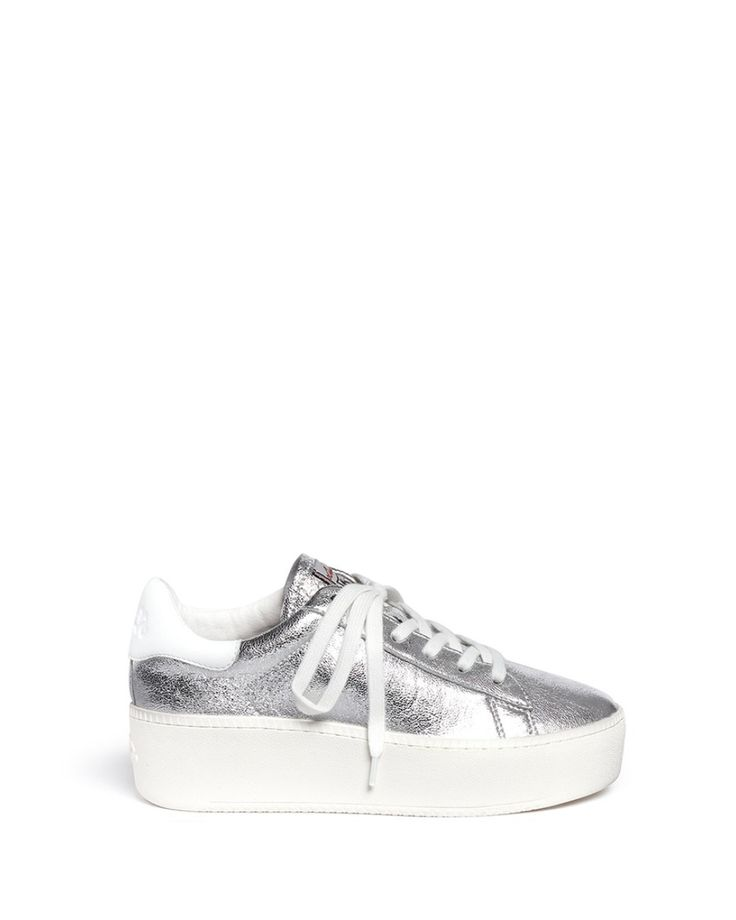 Ash | Silver 'cult' Metallic Leather Platform Sneakers | Lyst