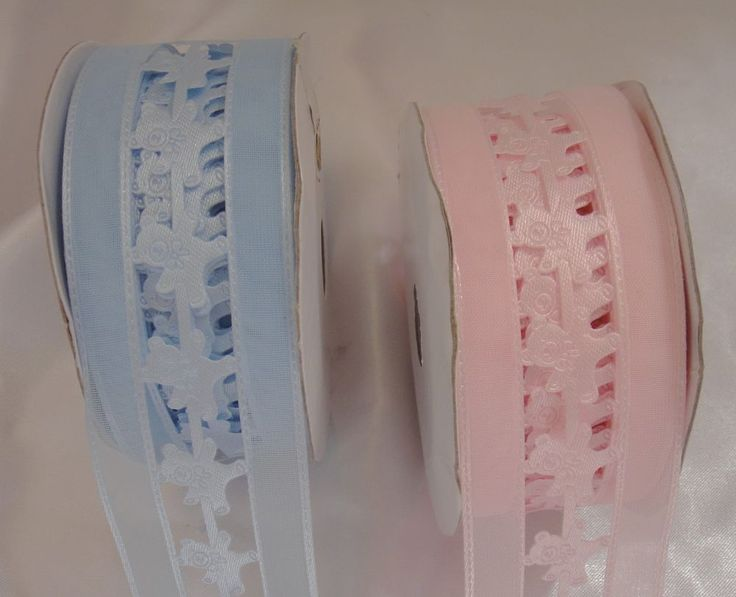 2 x BABY SHOWER PINK AND  BLUE RIBBON 38MM WIDE TEDDY BEAR WIDE 9 M