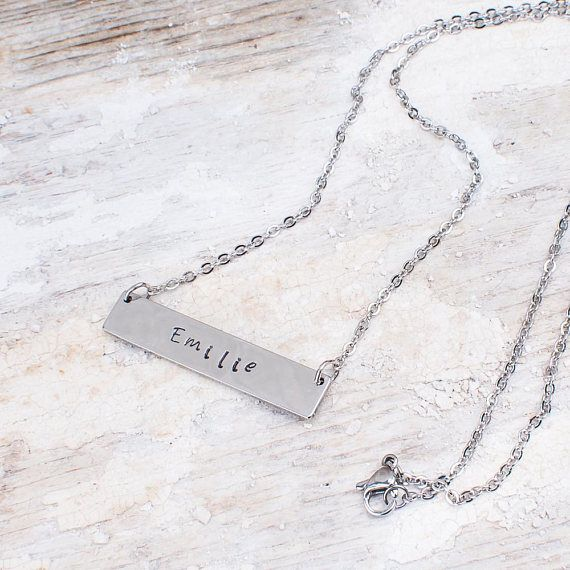 Collier personnalisé, Collier prénom argent, Collier barre, Prénom estampillé, Collier adolescente, Collier femme, Minimaliste, Chaine nom