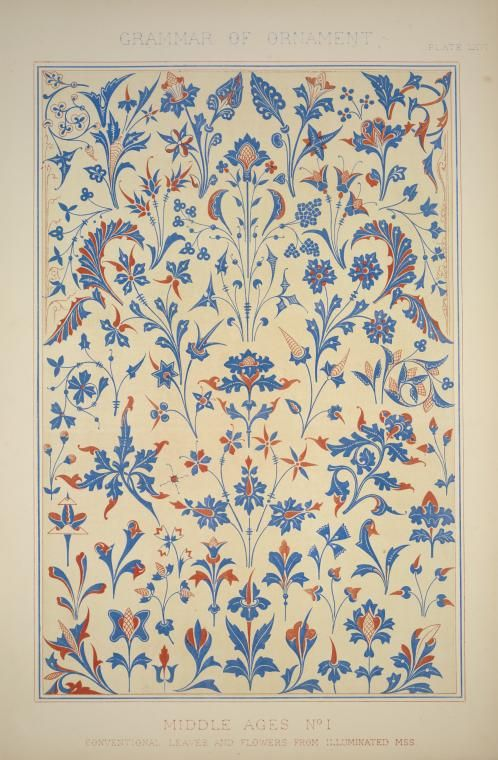 Medieval Ornament no. 1: Conventional leaves and flowers from illuminated manuscript. (1856) from: The grammar of ornament by Owen Jones