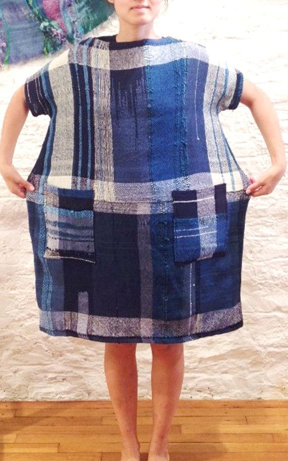 Handwoven Indigo Tunic Dress by LoopoftheLoom on Etsy