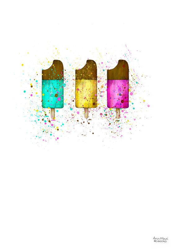 Popsicle illustration print wall print popsicle by annmarireigstad