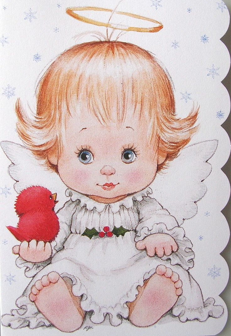 Morehead Baby Girl Angel Halo Cardinal Bird Christmas Holiday Greeting Card New | eBay