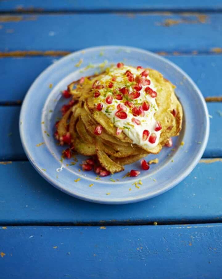Coconut pancakes by Jamie Oliver... http://www.jamieoliver.com/recipes/fruit-recipes/coconut-pancakes-with-pomegranate-jewels//?utm_source=social&utm_medium=RecipeOftheDay&utm_term=2015#tQrIcExwKYq1sFCB.97