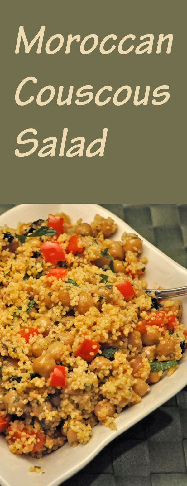 Couscous Salad, Moroccan style, with chickpeas, peppers, spices and fresh herbs#couscous #moroccan
