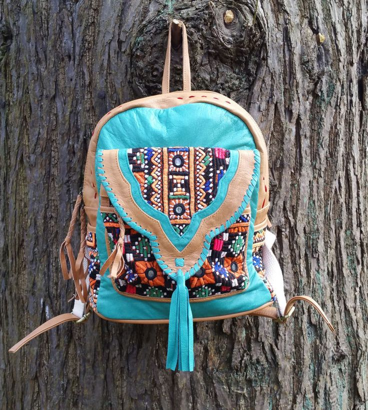 Leather Rucksack, Leather Backpack, Boho Backpack with vintage Jati Embroidery One of a Kind and made with Love by KavanaEmporium on Etsy
