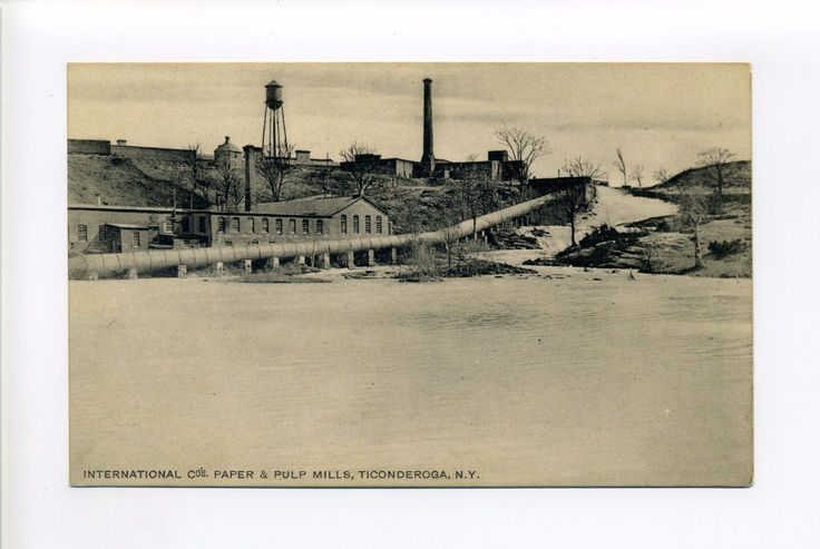 Ticonderoga NY (Essex Co) industrial view, paper & pulp mill, huge pipe, early |