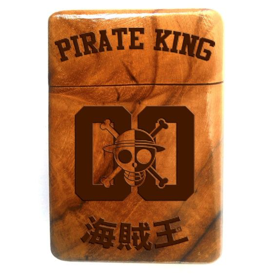 Wooden Cigarette Case Engraved One Piece Anime  by Maliojava