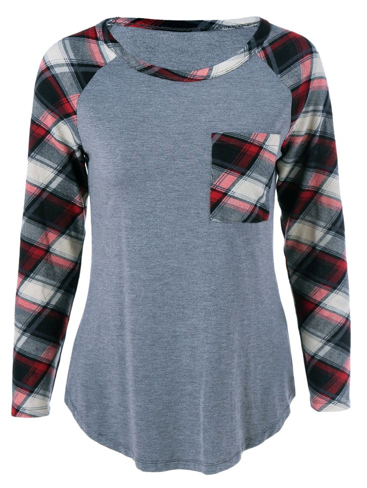 $11.82 Single Pocket Plaid Sleeve T-Shirt