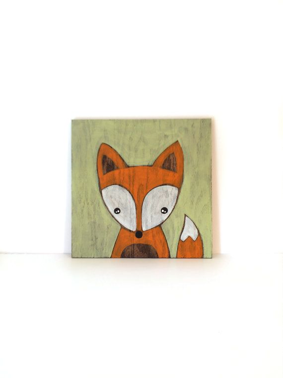 Fox Art Rustic Nursery Art Woodland Nursery by SweetBananasArt