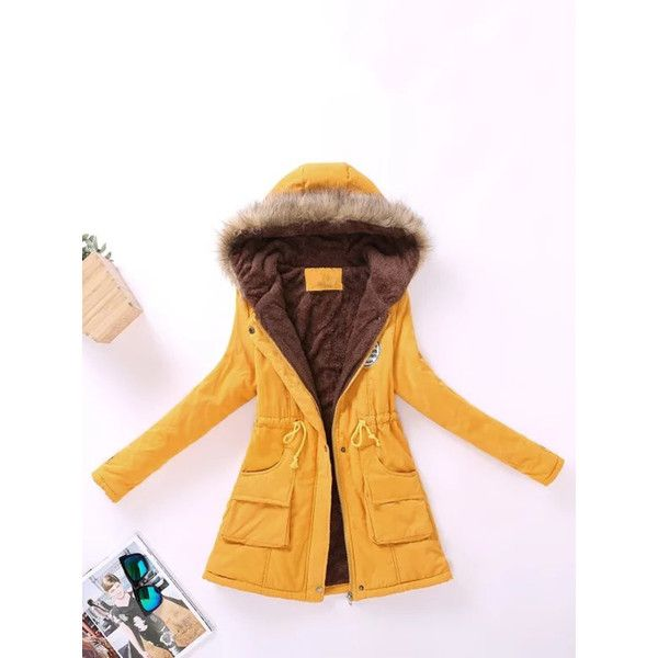 SheIn(sheinside) Contrast Lined Faux Fur Hood Parka Coat ($29) ❤ liked on Polyvore featuring outerwear, coats, yellow, collar coat, hooded parka, yellow coat, long sleeve coat and faux fur hood coat