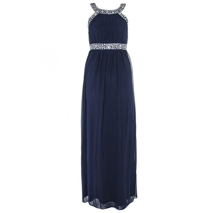 Navy & Silver Chiffon Maxi Dress - Quiz Clothing