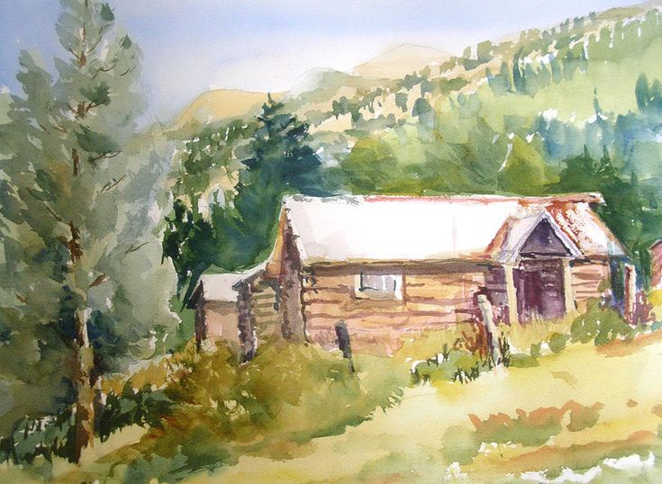 Mountain Cabin Paintings The Arts Pinterest