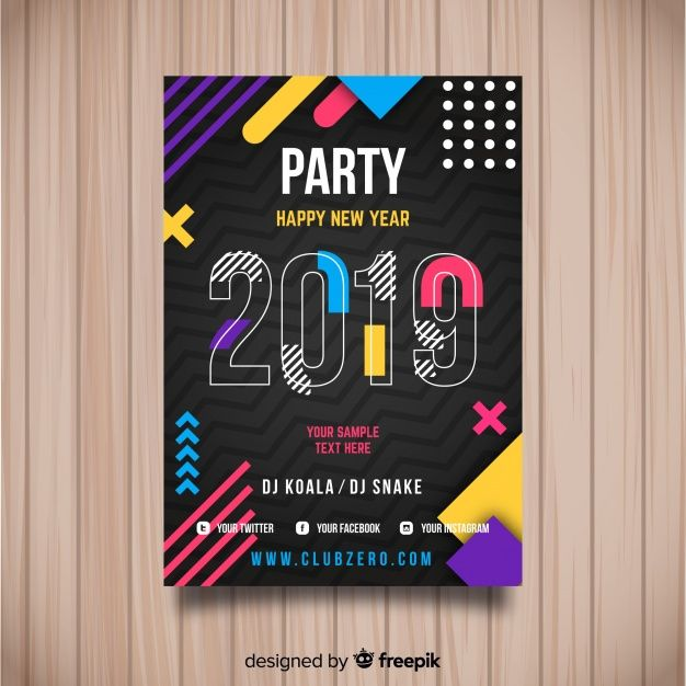 Creative 2019 new year party poster Free Vector | New year