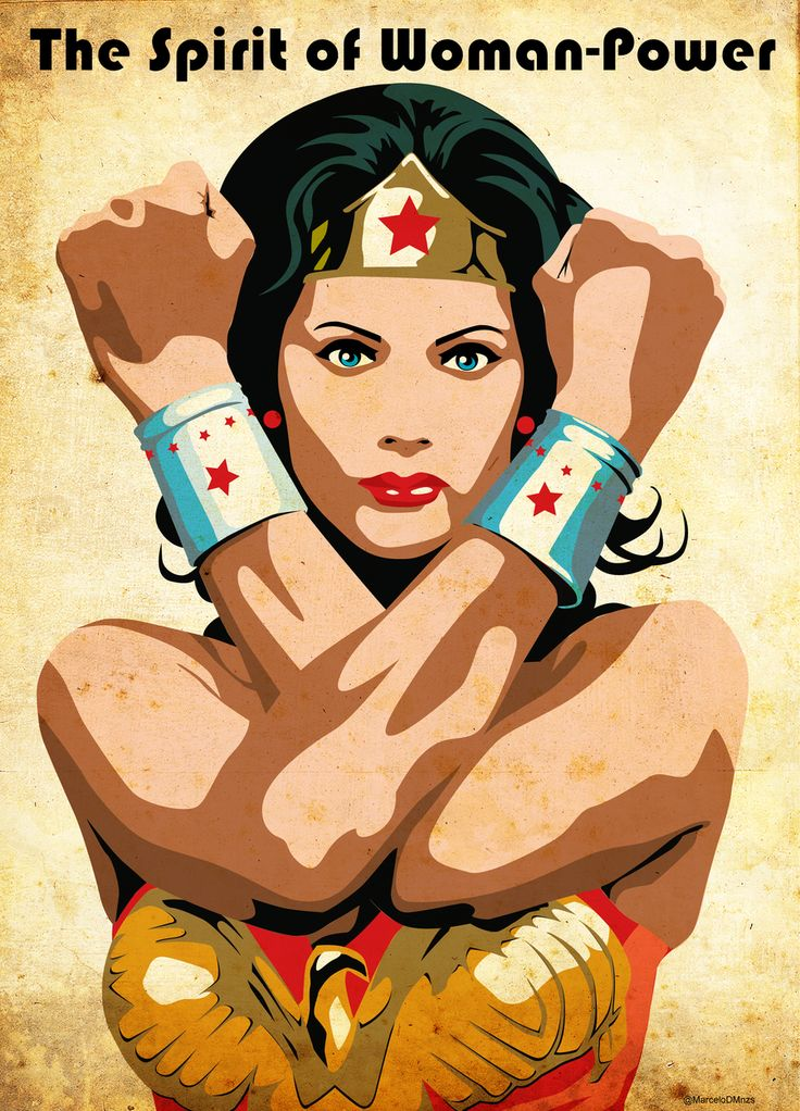 """the spirit of woman-power? is this an ad for a feminine hygiene product?  """"hippolyta, sometimes i get that 'not so fresh' feeling.""""  thehappysorceress:    Wonder Woman by Marcelo de Menezes"""