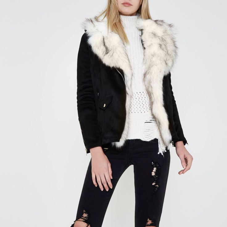 Faux suede fabric Detachable contrast faux fur trim Biker collar Side zip slip pockets Front flap pocket detail Long sleeve with zip cuff Epaulettes Asymemtric zip front fastening Our model wears a UK 8 and is 175cm/5'9'' tall
