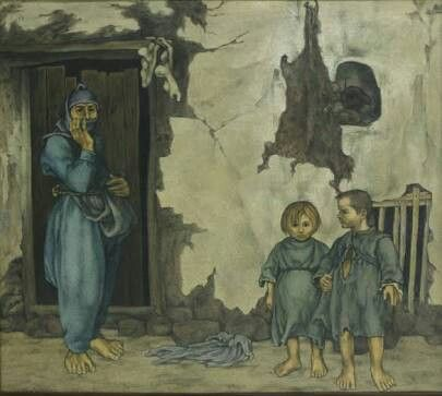 Neşet Günal: Köylü kadın ve çocuklar. Tuval uzerine yagliboya. 150×168cm. Ozel koleksiyon