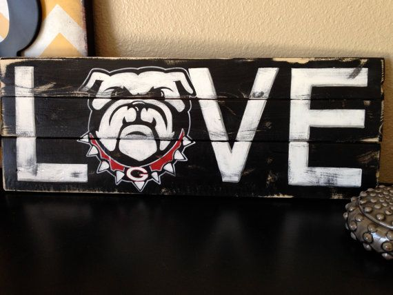 Show off your team spirit! I have hand crafted this Georgia Love sign from reclaimed wood. I hand lettered and hand drew the bulldog logo. I