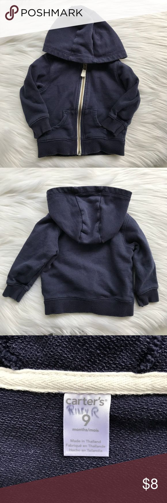 Carter's Zip Up Hoodie Sweatshirt Jacket Navy blue zip up hoodie. Very good used condition. Has some slight fading from washing. My child's name was written on the tag for daycare. Carter's Shirts & Tops Sweatshirts & Hoodies