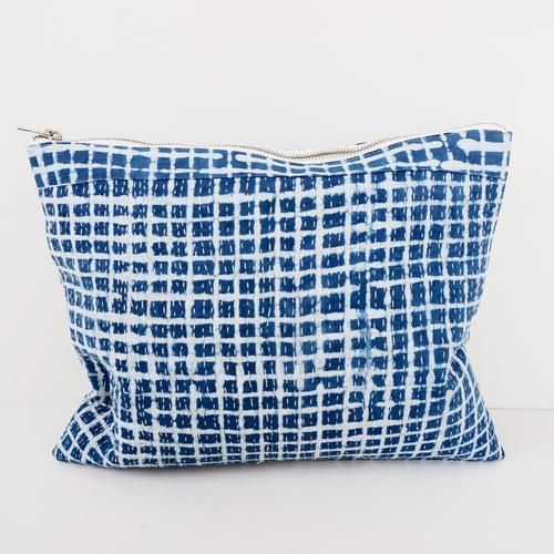 POUCH BY TIKAU (LARGE, BLUE/WHITE CHECK)
