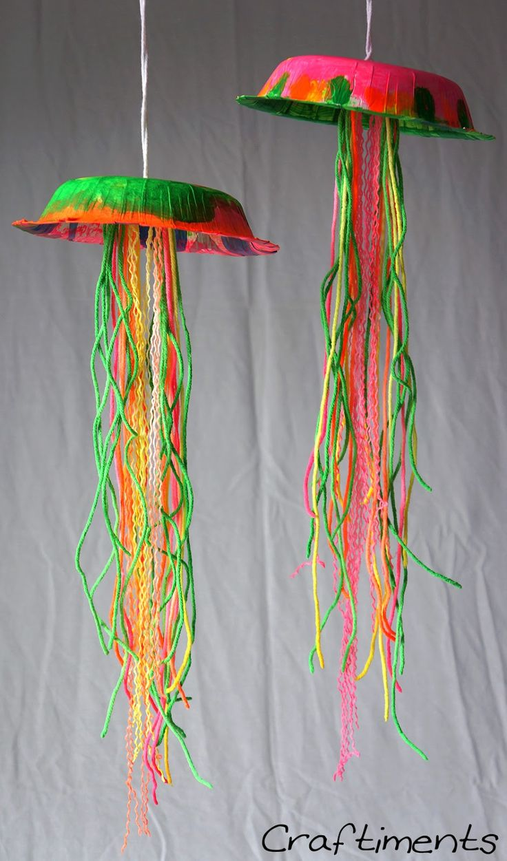 Crafts for kids | Charge your jellyfish creation in bright light for at least 30 minutes ... #Crafts #KidsCrafts