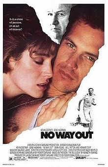 """Based on """"The Big Clock"""": Naval officer Farrell (Kevin Costner) has an affair with Susan (Sean Young) and it ends in jealous violence. Farrell is assigned to investigate the death (and cover up evidence of his involvement). The real killer is a Defense Secretary (Gene Hackman), but Farrell's prints are overwhelming and are more likely to get him in trouble."""