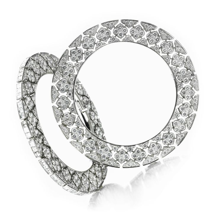 A Pair of Diamond and Platinum Bangles by Bhagat