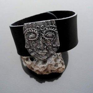 Tool - srebrna skórzana bransoleta męska. Idealny prezent na każdą okazję: urodziny, imieniny, walentynki, pod choinkę.