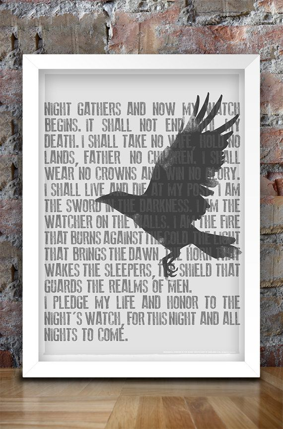 Game of Thrones Inspired Print A3 Nights by thedesignersnursery, $30.00