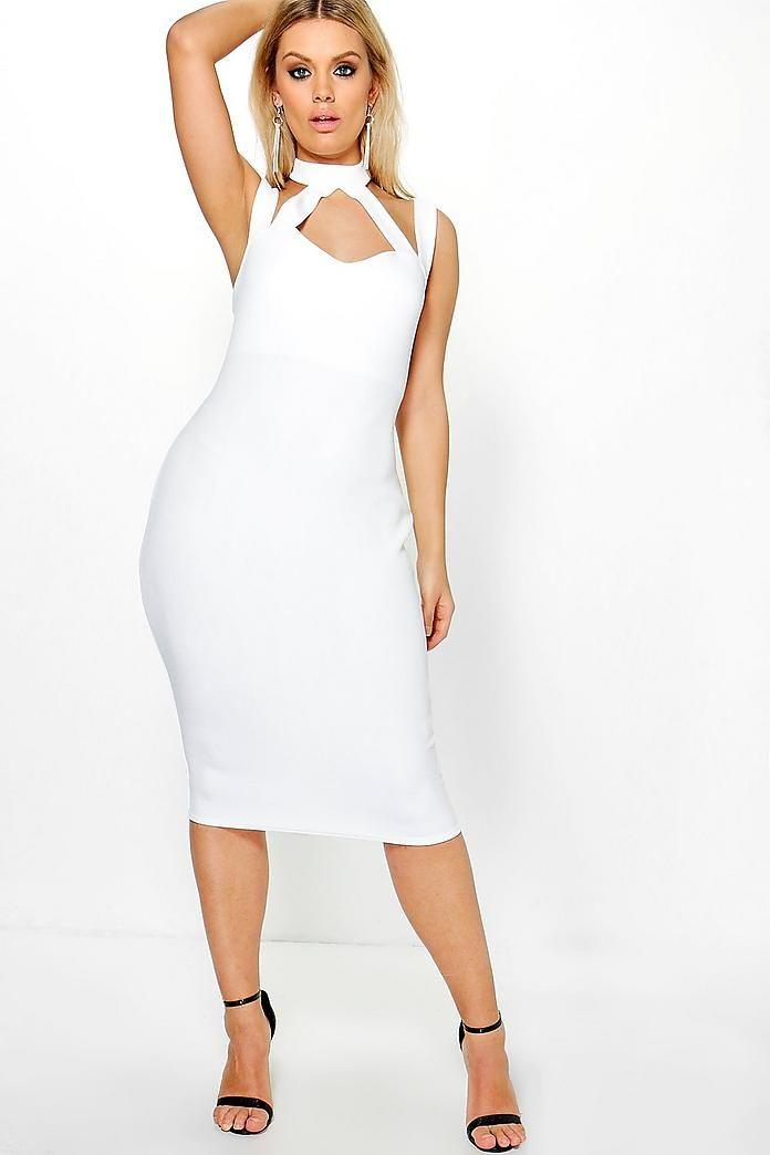 fa283ec4a6c9 Plus Saskia High Neck Strappy Midi Bodycon Dress | A dress | Dresses ...