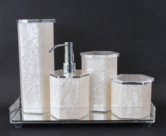 Kit Higiene Banheiro Acrílico Espelhada