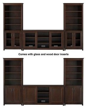 """Ainsworth Cognac 64"""" Media Console with Wood/Glass Doors and 2 Towers - contemporary - media storage - - by Crate"""