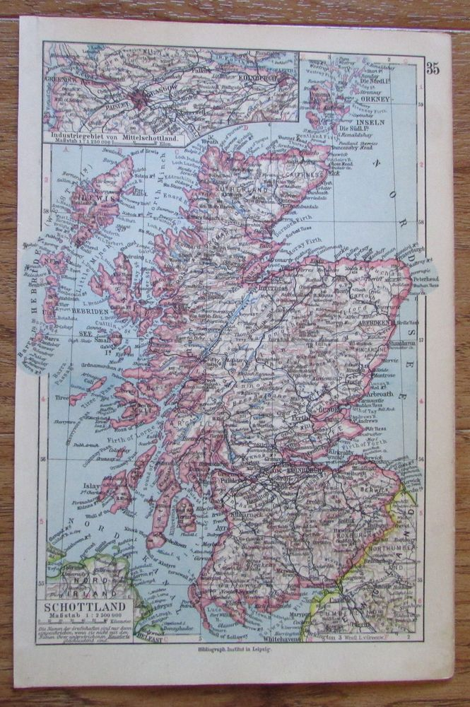 Schottland - alte Landkarte Karte old map 1928