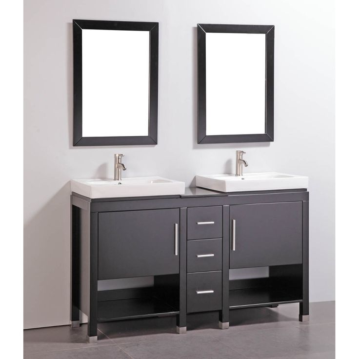Update your bathroom with this 60 inch granite top double sink bathroom vanity with two - Double bathroom vanities granite tops ...
