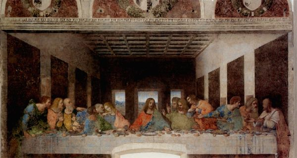 Leonardo da Vinci - Ultima Cena, dipinto parietale a tempera grassa su intonaco, databile al 1494-1498 e conservato nell'ex-refettorio rinascimentale del convento adiacente al santuario di Santa Maria delle Grazie a Milano.