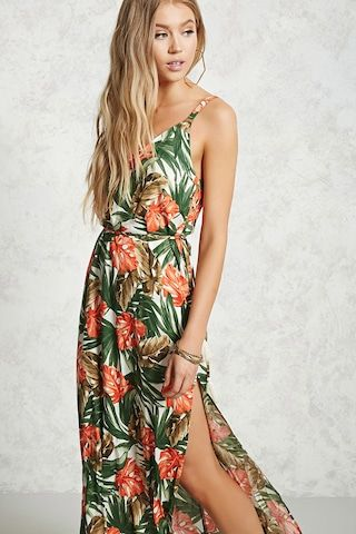 Forever 21 Contemporary - A woven dress featuring an allover tropical print, a V-neck, sleeveless cut, a self-tie tasseled waist, a side slit detail, and flowy silhouette.